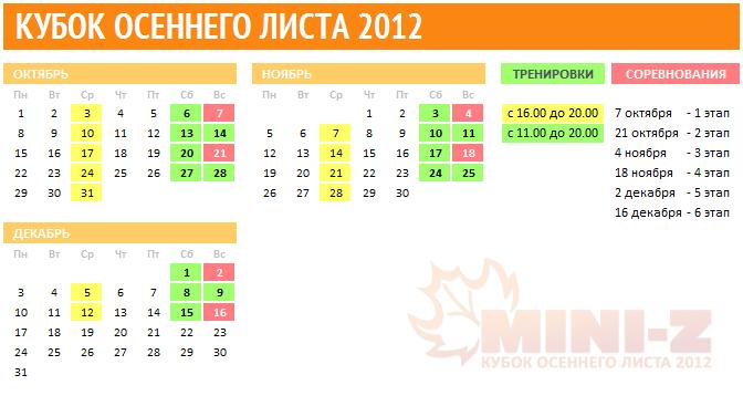 Календарь этапов Кубка осеннего листа 2012
