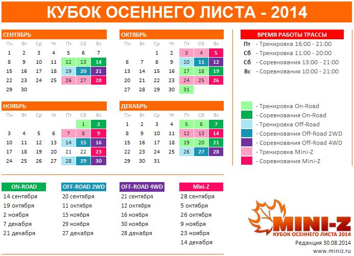 График проведения соревнований в Руссском Mini-Z клубе на 2014 год